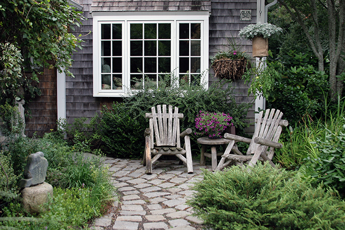 A seating area can be added to one side of the path to the door...